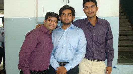 Achal in the Middle, I am on the Right, Gaurav on the left
